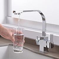 飲料水キッチン蛇口、デュアルハンドルキッチンシンク蛇口ホットとコールド3ウェイキッチン蛇口飲料水、クローム、中国