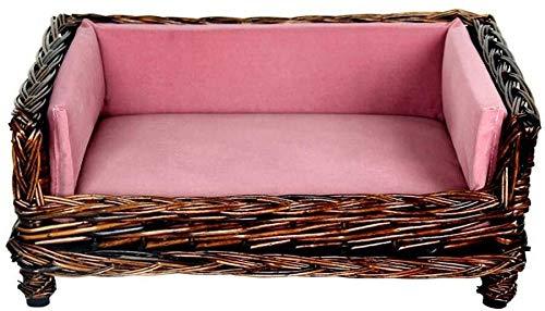 LGQBH Pet Bed dell'animale Domestico Nest Pet, Pet Dog Bed Rattan Estate Kennel Piccolo Cane Cane Medio Four Seasons Materasso.casa dell'animale Domestico (Color : B, Size : S)