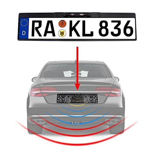 Rückfahrkamera Kennzeichen Nummernschild Kennzeichenhalterung mit Nachtsicht IR Farbe Kamera 10 Meter Kabel für Auto PKW KFZ universal Distanzlinien Hilfslinien für Monitor 170 180 YMPA RFK-NSK10