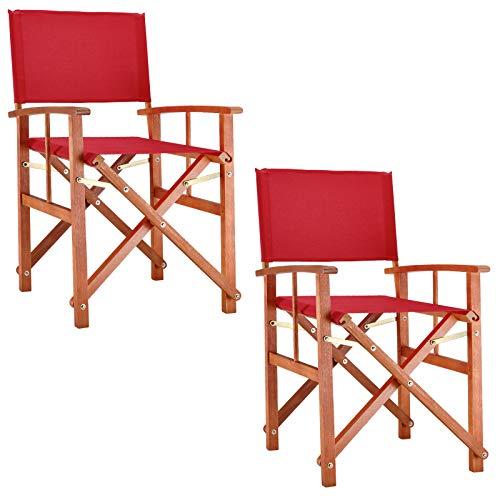 Deuba 2X Gartenstuhl Cannes FSC-zertifiziertes Eukalyptusholz faltbar Klappstuhl Holz Stuhl Regiestuhl Rot