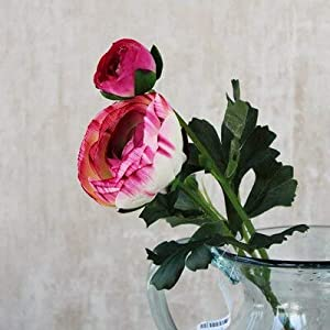 Artificial and Dried Flower Artificial Ranunculus Asiaticus Flower Fake Persian Buttercup Silk Flowers Tea Rose Decorative Flowers – ( Color: Pink )
