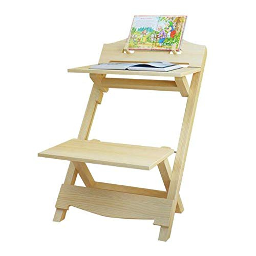 N/Z Tägliche Ausrüstung Tische Stühle Hocker Set 2 in 1 Craft Desk Seat Faltbarer Multifunktions-Sketchpad Holzfarbe Hoch 74cm