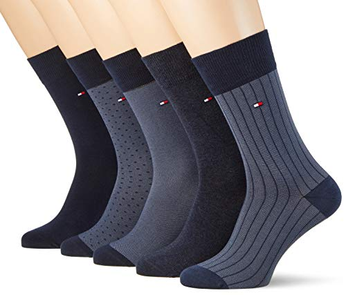Tommy Hilfiger Herren TH MEN BIRDEYE BOX 5P Socken, Blau (Dark Navy 322), 39/42 (5er Pack)