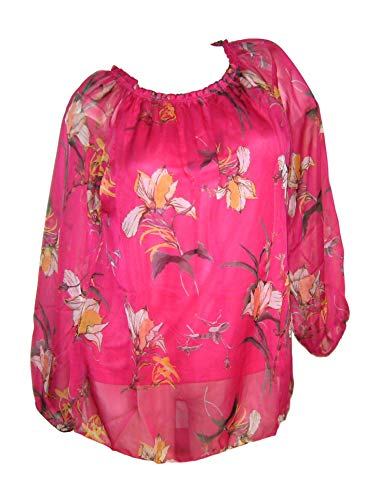 Zabaione Chiffon Tunika Carmen Bluse Gr 40 42 M pink mit Blumen