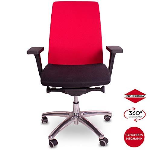 OfficeWorld Range Bürodrehstuhl Ergonomisch mit Armlehnen, Synchronmechanik mit Schiebesitz, Sitz und Rücken Gepolstert in Rot/Schwarz - Stuhlrollen für Hart- oder Teppichboden