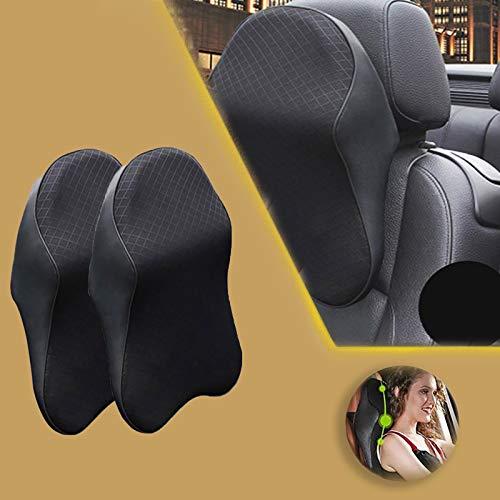 N/G Car Seat Headrest Neck Rest Cushion Durable Pure Memory Foam Neck Pillow Comfortable ErgonomicBreathable Removable Seat Headrest Pad (2Black,S)
