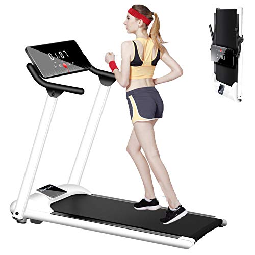Folding Electric Treadmill for Home Use, Electric Walking Jogging Exercise Machine for Small Space, 0.75HP, Portable Compact Workout Treadmill with Screen Operation (1 to 10KM/H) (White)