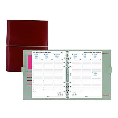 Filofax Domino Organizer, A5 Size, Red – Leather-Look with Contrast Stitching, Six Rings, Week-to-View Calendar Diary, Multilingual, 2022 (C027872-22)