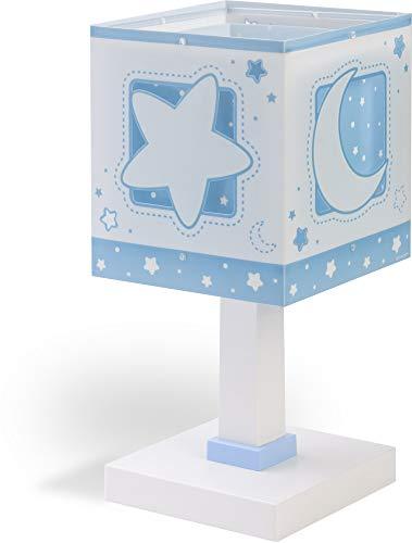 Dalber Moon Light Lámpara Mesilla infantil Luna y Estrellas MoonLight Azul, 40 W
