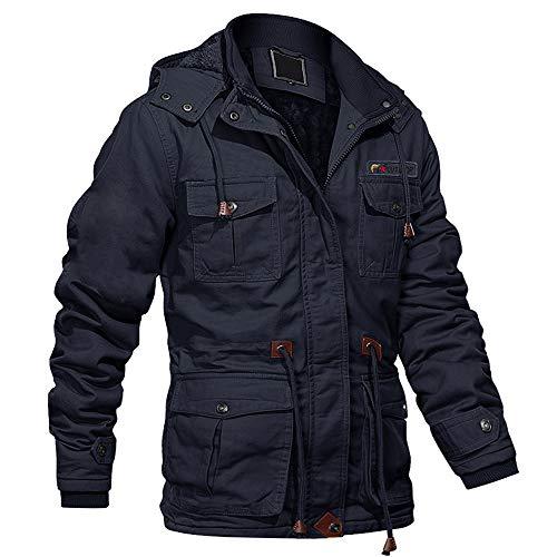 Work Jackets for Men with Removable Hood Jacket Winter Winter Jacket Men Pilot Jacket Tactical Jacket Cargo Jacket Thicken Jacket Navy