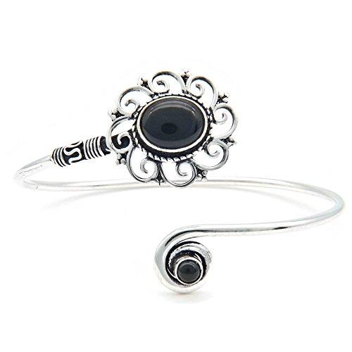 mantraroma Armreif Armband versilbert silbern Onyx schwarz (922-05-025-03)