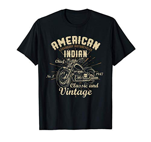 Motocicleta india americana vintage para motociclista viejo Camiseta