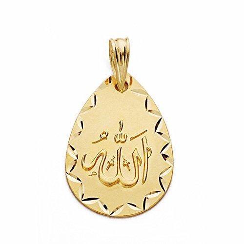 Medalla Oro 18K Allah Es Grande 21mm. Lágrima [Aa2559Gr] - Personalizable - Grabación Incluida En El Precio