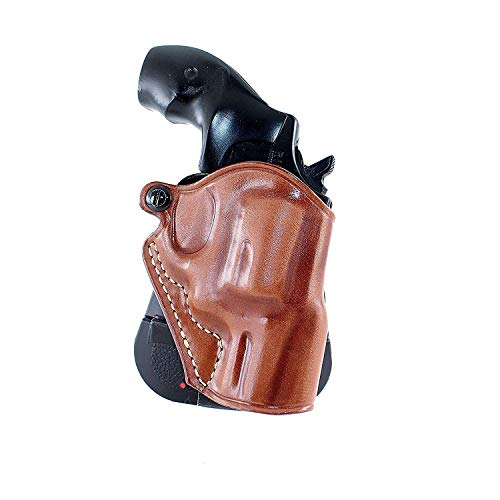 Premium Leather OWB Paddle Holster Fits Taurus 605 357 Magnum Snub Nose Revolver 2'' BBL, Brown Color, Right Hand Draw #5420#