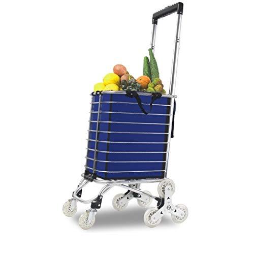 SSG Home Wagen Einkaufswagen Lebensmittel Supermarkt Multifunktions Dickes Aluminium Anti-Rutsch-Dreieck Rad Tragbares Haushalt Grocery Einkaufswagen Praktisch und einfach zu bedienen (Color : A)