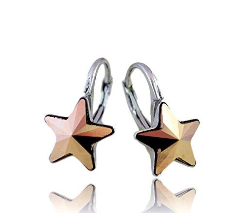 Crystals & Stones *Rose Gold* *STERN* - Schön Ohrringe Damen Ohrhänger mit Kristallen von Swarovski Elements - Wunderbare Ohrringe mit Schmuckbox