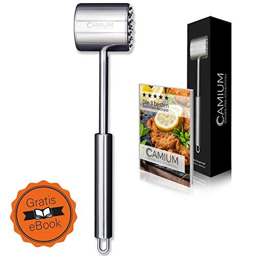 CAMIUM Fleischklopfer - Fleischhammer aus Edelstahl doppelseitig - spülmaschinengeeignet + gratis Ebook