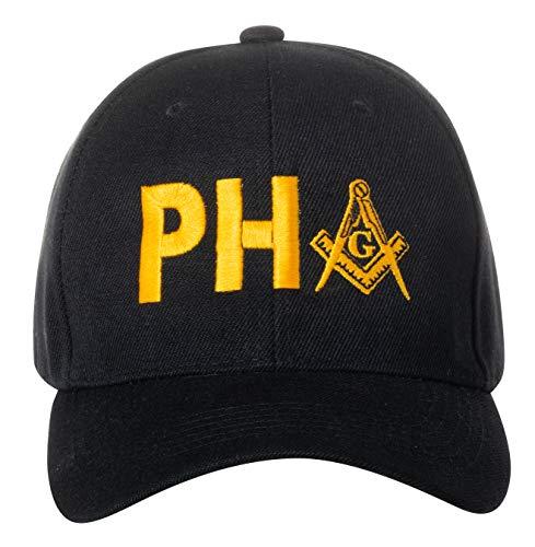Prince Hall Freimaurer Freimaurer quadratisch und Kompass bestickt schwarz verstellbar Baseball Cap