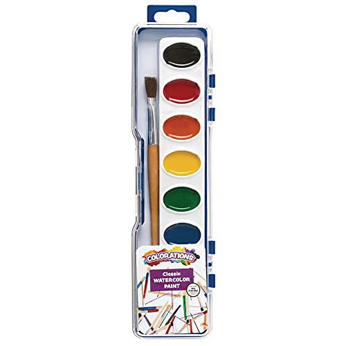 Colorations Best Value Watercolor Paint Set - 8 Vibrant Colors in Plastic Case with Brush