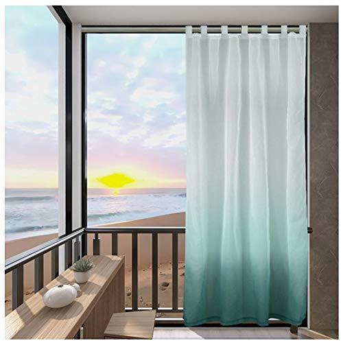 Outdoorvorhänge Farbverlauf Transparenter Voile Vorhang für Balkon 2er Set Vorhang mit Ösen Gardinen Schals für Pavillon Terrasse (Farbe : Blau, Größe : 2 Stück(B137*H213cm))