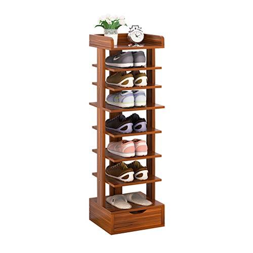 Kiter Zapatero de 8 niveles con cajón, moderno gabinete de zapatos para el hogar, pasillo, vertical, ahorra espacio, organizador de zapatos (color: sándalo)
