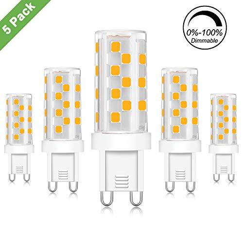 Kimjo G9 LED Dimmbar 5W Lampen, Warmweiß 3000K Kein Flimmern, Ersetzt 30W 40W 50W Halogenlampen, G9 LED Leuchtmittel Birnen, 500LM AC230V 360° Abstrahlwinkel 5er Pack