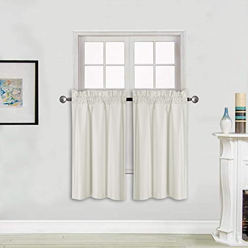 """Better Home Style 100% Blackout 2 Tiers Window Treatment CurtainInsulated Drapes Short Panels for Kitchen Bathroom Basement RV Camper or Any Small Window M3036 (Ivory, 2 Panels 28"""" W X 36"""" L Each)"""