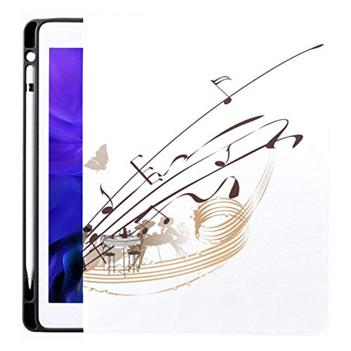 Case For Ipad Pro 12.9 Inch (2020/2018 Release) with Pencil Holder, Full-body Trifold Stand Protective Case Smart Cover With Auto Sleep/wake, Coffee Music Abstract Treble Clef Decorated