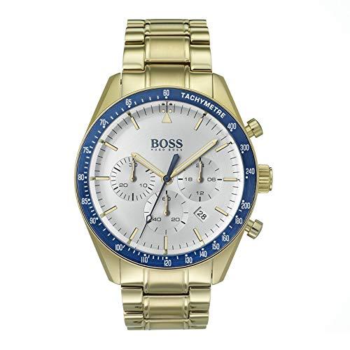 Hugo Boss Herren Chronograph Quarz Armbanduhr mit Paqué-or Armband