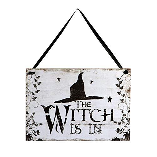 Amosfun Halloween-Willkommensschild, Holzschild, Tür, Fenster, Bar, Einkaufszentren, Halloween-Dekoration