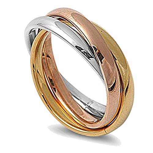 Double Accent 3MM Stainless Steel Tri Color Interlocked Rolling Band Ring (Size 3 to 13), 10