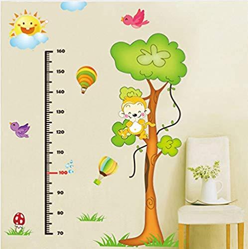 Wandtattoos Wandtattoos Green Monkey Tree Kind Höhe messen Wall Sticker Home Eingang Schlafzimmer Abnehmbarer transluzenter Wachstumsdiagramm Funktion Wandbild