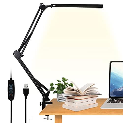 VEHHE Lampada da scrivania con morsetto, lampada da tavolo a LED, 3 modalità di colore+10 livelli di luminosità regolabili, USB lampada a braccio oscillante per lavoro di lettura in ufficio a casa