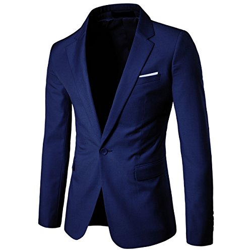 Allthemen Sakko Herren Slim Fit Anzugjacke EIN Knopf Sakko für Business Marineblau Large