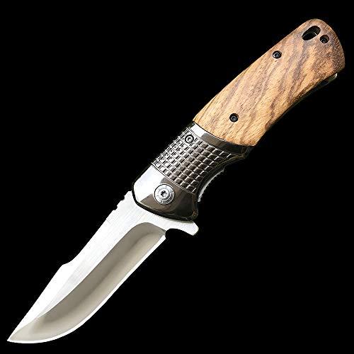 Eil Klappmesser Taschenmesser Scharfes Outdoor Messer Outdoor Survival Messer für Camping Jagd Angeln,Gürtelclip, Sicherheitsverschluss, Holzgriff einhandmesser gürtelmesser jagdmesser