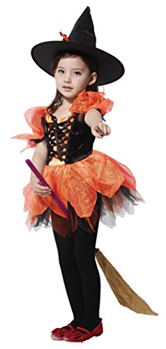 EOZY-Costume Abito Strega Bambina 4-12anni Arancione Travestimento Carnevale Halloween Cosplay Petto 72cm
