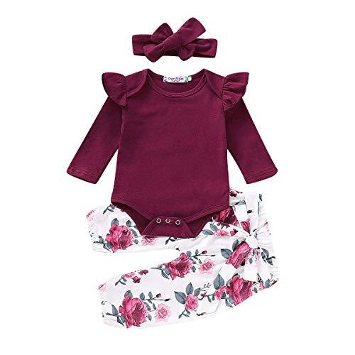 Neugeborene 3 Stück Babykleidung Set Baby Mädchen Kleidung Body Strampler Rüschen Bodysuit Blume Hosen Stirnband Kleinkinder Outfits Set (Weinrot Langarm, 0-6 Monate)
