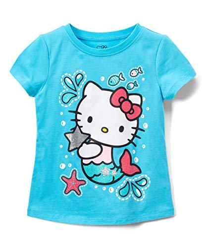 Hello Kitty Girls Short Sleeve Tee Shirt with Glitter Print (Aqua, 7)