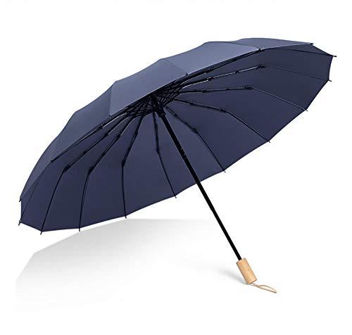 BLACK ELL Best Windproof compact Umbrella,Sturmfest Regenschirm Automatik,Dreifach gefalteter Regenschirm einfarbiger Sonnenschirm, Faltschirm großer windresistenter Regenschirm-Blau_16 Aktien