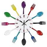 BuyBuyBuy Diseño Creativo Cuchillo De Acero Inoxidable Y Tenedor Cuchara Reloj De Pared Reloj Reloj De Cocina Sala De Estar Reloj De Pared Electrónico 31 Cm Hora de soñar