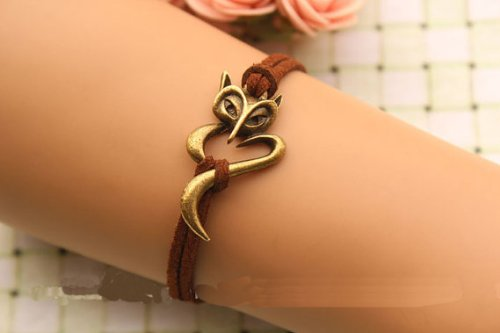 Joyplancraft Fox Bracelet,Retro Bronze Bracelet,Brown Rope Chain Bracelet,so Cute and Lovely,Best Gift for Your Lover Girl Friend and Friend ¡
