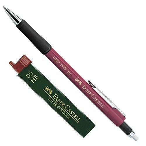 Faber-Castell 1345 - Druckbleistift Grip, Minenstärke: 0,5 mm, Schaftfarbe: Rot Metallic + Dose Ersatzminen HB
