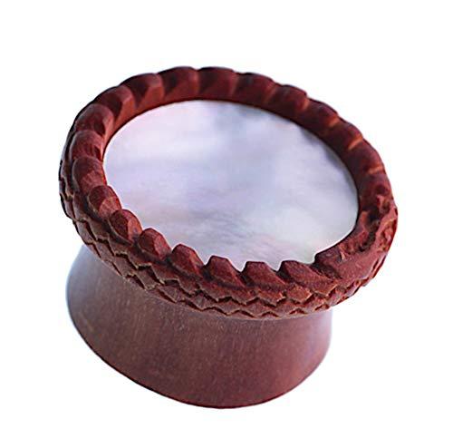 Enchufe madera de color marrón con textura del embutido redondo patrón de la serpiente de la concha perla frontera perforación de 08 mm