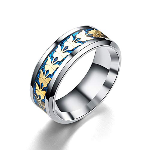 Da Dini Moda Hombres Anillo De Joyería Mujeres Cool Titanium Acero Anillo Anillo Anillo Accesorios Azul + Oro 10