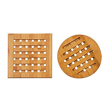 2-Pack Bamboo Trivets Set - Wood Trivets, Heat Resistant Coasters for Hot Dishes, Pots, Pans, Protection for Dining Table, Tabletop, Counters - Square and Round, Natural Brown, 7.5 x 7.5 x 2.8 Inch