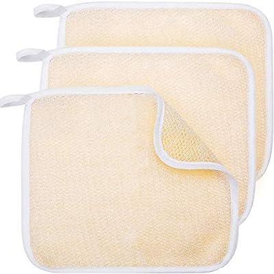 Exfoliating Face and Body Wash Cloths Towel Soft Weave Bath Cloth Exfoliating Scrub Cloth Massage Bath Cloth for Women and Man (3 Pack Two Sides Exfoliating Cloth) by Tatuo