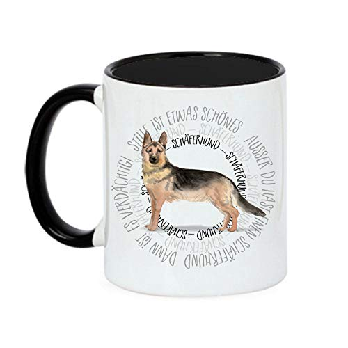 Siviwonder Tasse Circle - SCHÄFERHUND - Watercolor Dogs Hundemotiv Fun Kaffeebecher