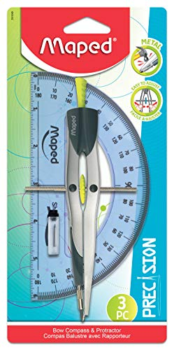 Maped Precision Metal Bow Compass & Protractor, 3 Piece Set (291049)