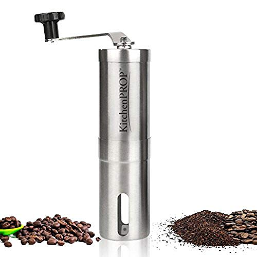 Kitchen PROP Manual PREMIUM STAINLESS Coffee Grinder with ADJUSTABLE Ceramic Conical Burr Mill, AEROPRESS Compatible with Portable, BEST Coffee Mill and Coffee Maker for Travel, Camping and Hiking
