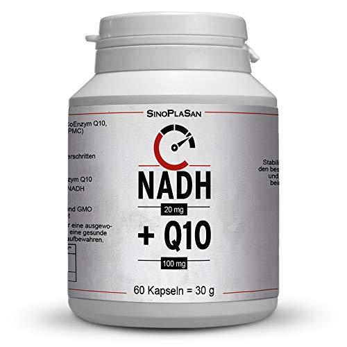 NADH (Panmol®) 20 mg + Coenzym Q10 100 mg Kapseln, 60 Kapseln, Coenzym 1 (NADH) & Coenzym Q10 Kombiprodukt, laktosefrei, OHNE Magnesiumstearat